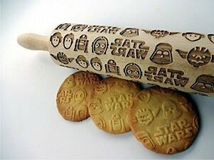 STAR WARS rolling pin. Wooden embossing pattern for homemade cookies new