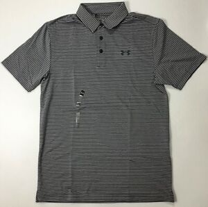 Under Armour MEN'S Athletic Golf Polo Loose1242758 Blue Grey Stripe 413 Size S $26.99