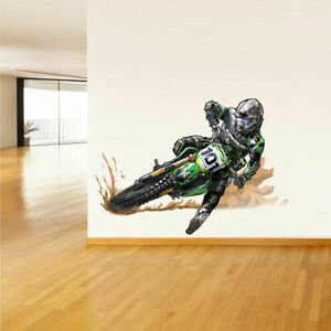 Full Color Wall Decal Sticker Dirt Bike Moto Motorcycle Motocross Biker Col297