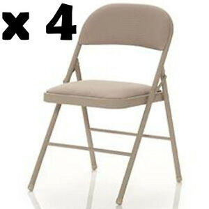 Linen Fabric Folding Chair 4 Pack Steel Frame Padded Back Rest Dining Seat New