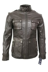 New Stylish Men's Classic Pea Coat Safary Hunt Brown Real Century Leather Jacket