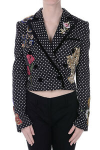 DOLCE&GABBANA New Woman Embroidery Jewel Blazer Black Made In Italy NWT