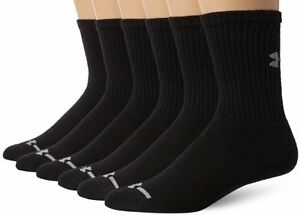 Under Armour Men's Charged Cotton Crew Socks 2.0 - Black (Pack of 6)