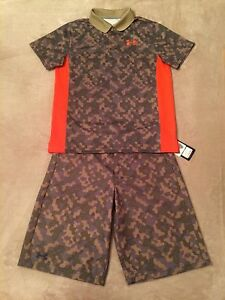 Boys Under Armour YLG L Large 14-16 Golf Shorts & YLG L 14-16 Polo Golf Shirt