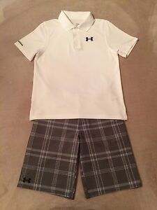 Boys Under Armour YLG L Large 14-16 SS Polo Golf Shirt & YLG 14-16 Golf Shorts