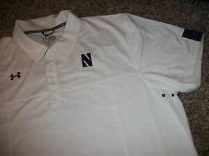 UNDER ARMOUR Northwestern Wildcats New NWT Mens 2XL XXL Polo Shirt White Loose