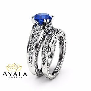 Sapphire Engagement Wedding Ring Set Unique Filigree Design Ring Matching Band