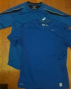 LOT OF 2-NIKE Pro Combat Dri-Fit Mens Fitted T Shirt Blue Large