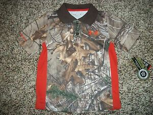 UNDER ARMOUR New NWT Boys Youth Polo Shirt Camo Camouflage Realtree 4 5 6