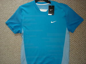 NWT Nike Nadal Rush and Crush Victory Blue Tennis Shirt Federer 373615-481 Med