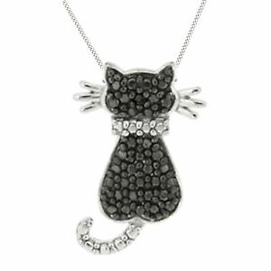 10K White Gold Over Black Diamond Accent Cat Pendant & Necklace