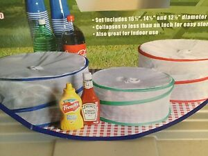 3pk Pop Up Collapsible Food Cover Mesh Outdoor Picnic BBQ Insect Bug Screen Net