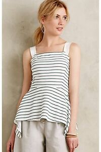 Anthropologie Deletta Women's White and Green Striped Peplum Tank Top Size M