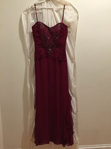 high end designer evening gown 100% silk with silk lining burgundy $3000.00
