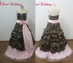 New Camo Evening Dresses Ball Gown Camouflage Bow Prom Party Bridal Gowns Custom