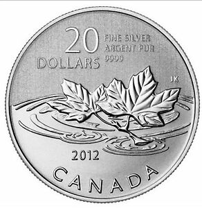 Canada 2012 Farewell to the Penny $20 Pure Silver Maple Leaf Leaves FULL OGP