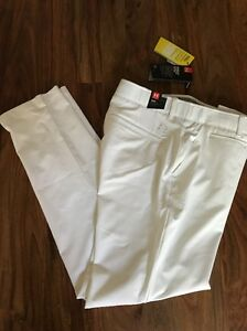 Under Armour Women's UA Storm Links Flat Front Fitted Golf Pants Sz 12 White NWT
