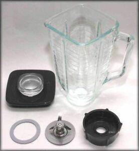 5 Cup Square Top 6 Piece Complete Glass Jar Replacement Set Fits Oster Blender