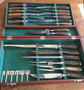 Vintage Abercrombie & Fitch Stag Handle Carving and Steak Knife Set!