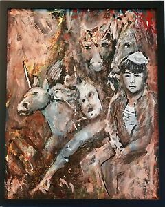 Original Rescuers Horses Oil Framed Painting Expressionist Guillo Perez 2014 $8000.00