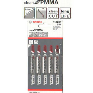 Bosch 5 pcs Jig Saw Blades T 102BF BIM PMMA Cutting 2608636781