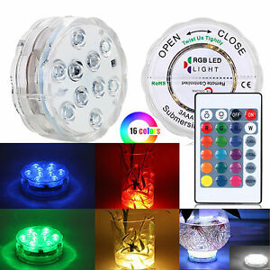 10 LED Submersible Waterproof Lights RGB for Wedding Party Vase Fish Tank Decors