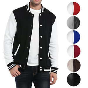 New Men#x27;s Premium Classic Snap Button Vintage Baseball Letterman Varsity Jacket $39.95