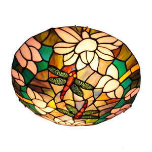 Stained Glass Dragonfly Ceiling Lamp Tiffany Style Dining Room Flush Mount Light