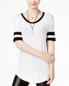 Ultra Flirt Womens Striped Sleeve Football T-shirt White & Black Sz XL