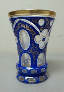 BOHEMIAN CZECH CASED OVERLAY 3-LAYER GLASS BEAKER  TUMBLER ROYAL BLUE (#1)