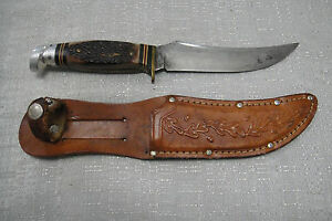Antique Western 639 Skinning Knife Boulder CO Vintage Hunting Bowie with sheath