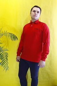 Polo Sport Ralph Lauren Rugby Shirt Spellout Vintage 90s Red  Long Sleeve Size M