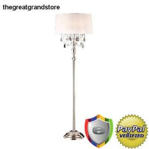 Modern Crystal Silver Floor Lamp 62-Inch Contemporary Designer Vintage Antique