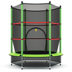 "55"" Kids Mini Jumping Round Trampoline Exercise W Safety Pad Enclosure Combo"