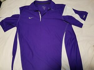 Nike collar shirt polo purple white stretch dry fit gym sport business casual