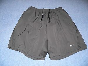 NIKE RUNNING DRI-FIT GRAY LINED SHORTS POCKETS MENS SIZE XL Extra Large