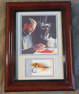 ORIGINAL SIGNED POUL JORGENSEN SALMON FLY SHADOW BOX FRAME PHOTO BY LEFTY KREH