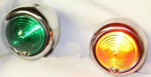 2X Dixie 12V Chrome Bullet Style Red / Green Nautical Style Light Set