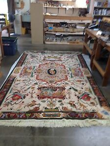Persian Pictorial Tabriz Rug 100% Silk 6.3