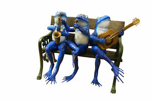 Musical Frogs on a Bench Bronze Sculpture -  Size: 41