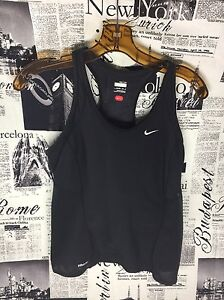 Nike Plus + Women Medium Black Tank Top Running Miler Tank Shirt Top DryFit 8-10