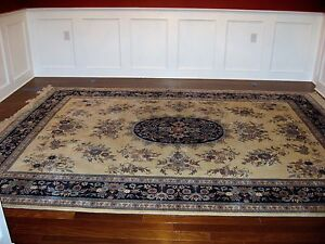 Antique Exquisite Design Blue Chinese Oriental Tight Handwoven 9' X 12' Rug