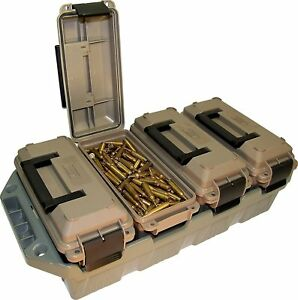 4 Can Military Ammo Crate Ammunition Utility Box Stackable Multi Caliber Storage