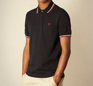 New Men Red White Black Twin Tipped Short Sleeve Sport Polo T Tee Shirt