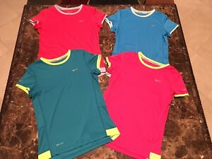 Lot Of Four Nike Dri-Fit Girl's Miler Short Sleeve Running Shirts Size Medium