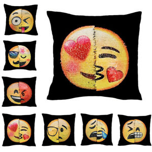 Funny Reversible Pillow Case Sequin Mermaid Expression Decor Emoji Cushion Cover