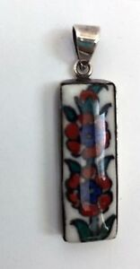 Turkish Tile Silver Pendant Necklace Charm Orange and Blue Flowers 925 Silver