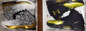 UA CURRY B2B PACK 1300015-001 BLACK WHITE GOLD NIB UNDER ARMOUR MVP PACK SZ 12