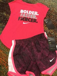 BTS NWT NIKE 44t GIRL 2-pic SET SHIRT & DRY FIT SHORTS hot Pink RETRO school
