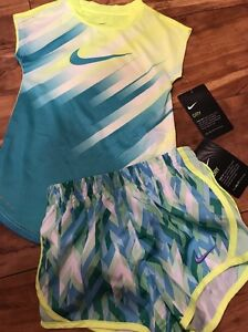 BTS NWT NIKE 4t GIRL DRY FIT SET shirt & shorts TODDLER GIRL...NEON SCHOOL Twins